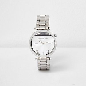 Silver tone triangular face watch