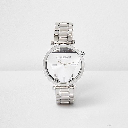 Silver tone triangular face watch