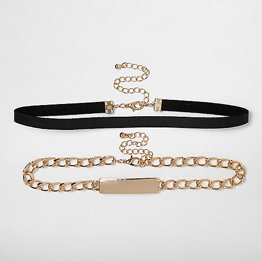 Black and gold tone chain choker pack