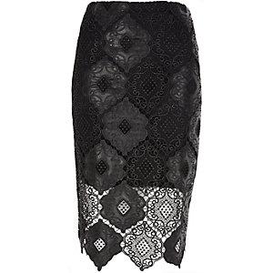 Black scalloped hem pencil skirt
