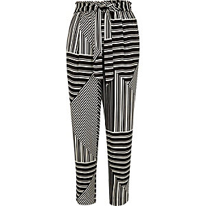 Black stripe print soft tie tapered pants
