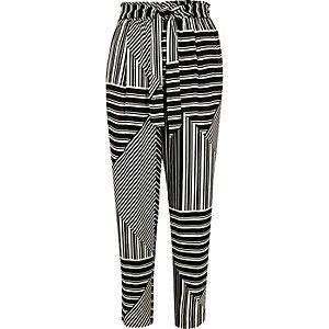 Black stripe print soft tie tapered pants