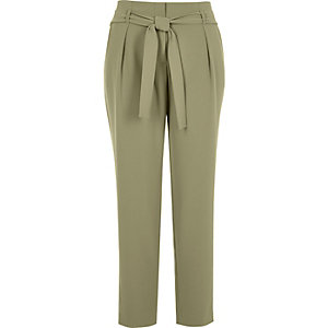 Light green soft tie waist tapered pants