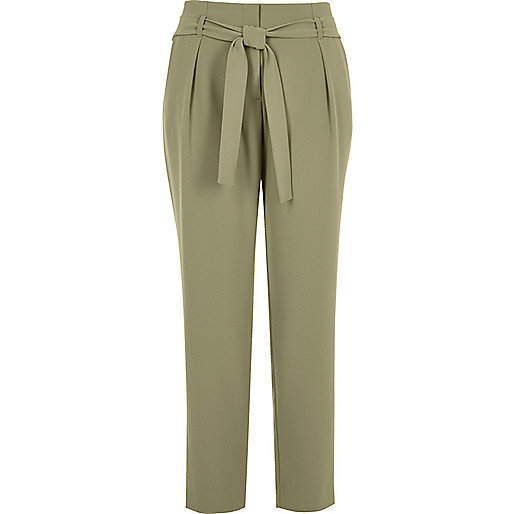 Light green soft tie waist tapered trousers