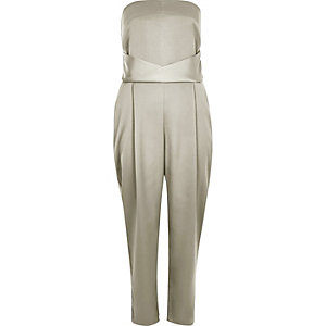 Grey satin bandeau jumpsuit