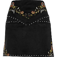 Black embroidered floral and stud mini skirt