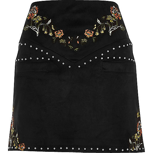 Black embroidered floral and stud mini skirt