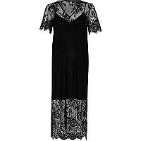 Black lace midi T-shirt dress