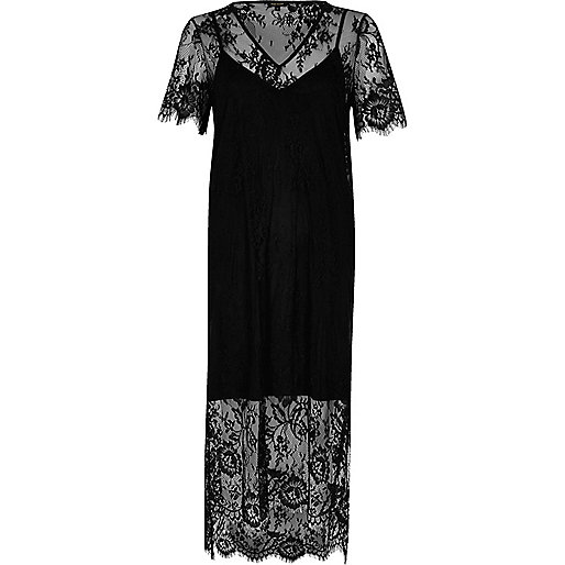 Black lace midi T-shirt dress
