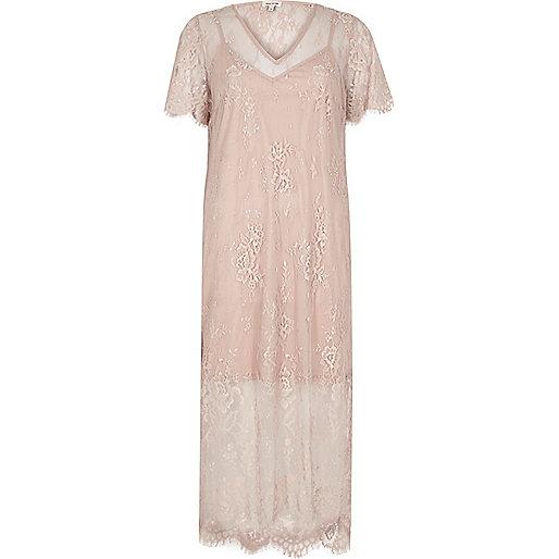Midi-T-Shirt-Kleid mit Spitze in Nude