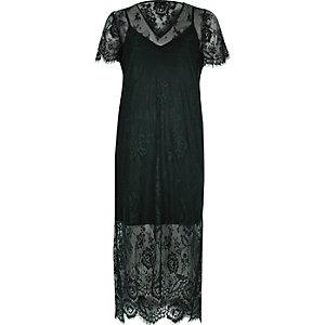 Dark green lace midi T-shirt dress