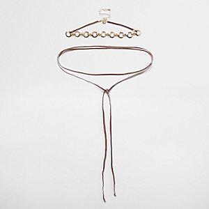 Ensemble collier ras-de-cou orné de cercles or rose et cordon à nouer