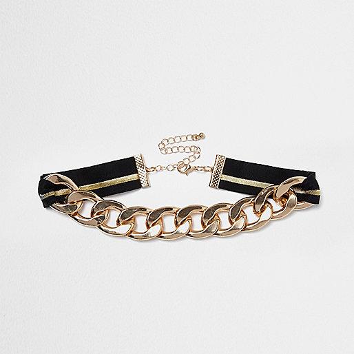 Rose gold tone fabric chain choker