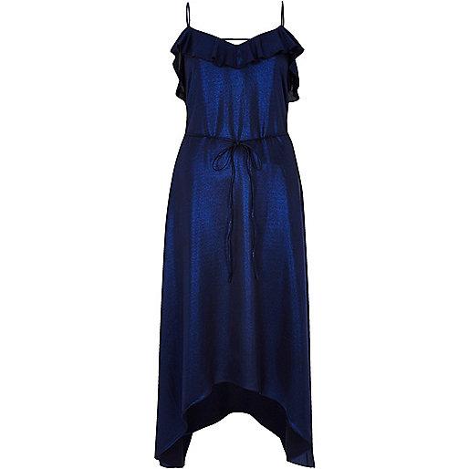Metallic blue frill slip dress