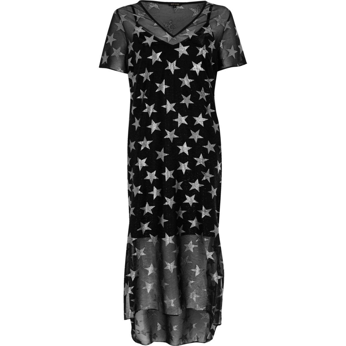 Zwarte T-shirt-jurk met metallic sterrenprint