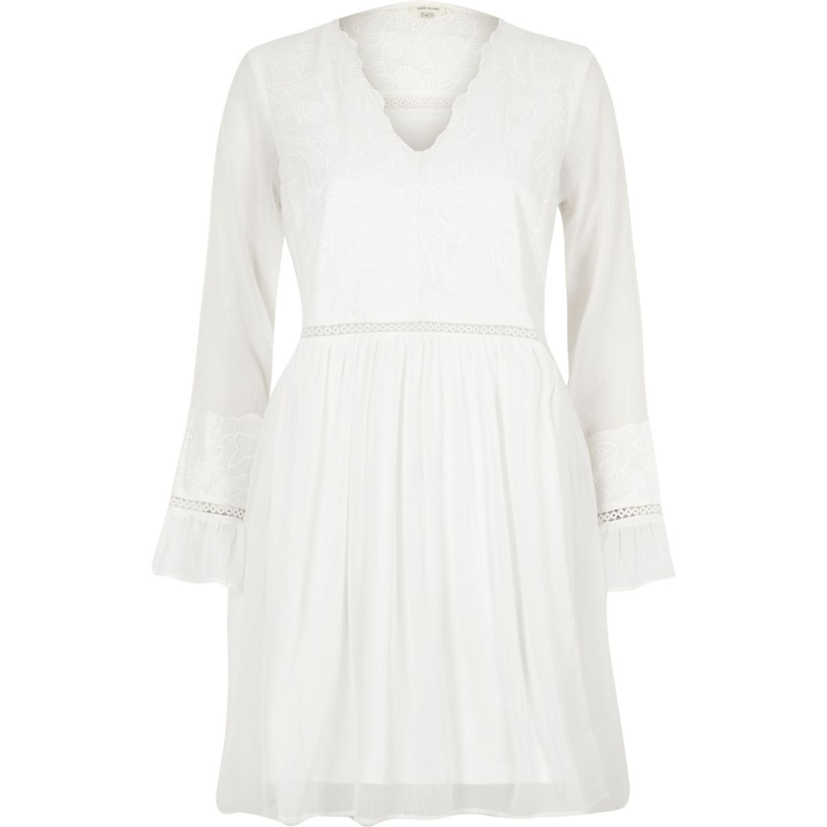 Cream lace long sleeve smock dress