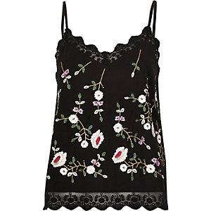 Black floral embroidered mesh hem cami top