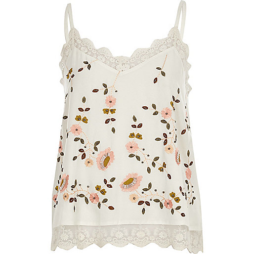 Cream floral embroidered cami top