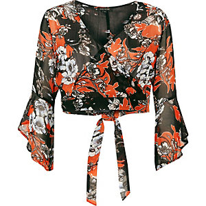 Black floral print bell sleeve wrap crop top