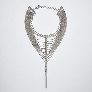 Silver tone layered chain drop necklace