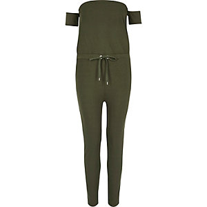 Khaki green ribbed bardot jumpsuit