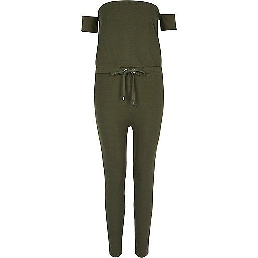 Khaki green ribbed bardot jumpsuit