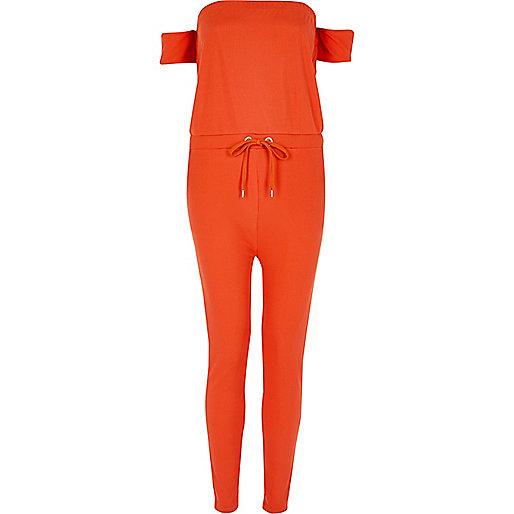 Red ribbed bardot jumpsuit