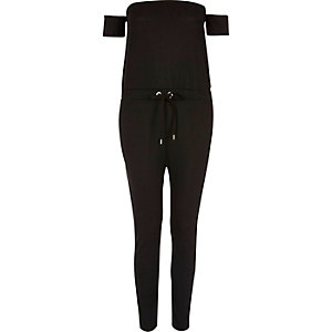 Zwarte geribbelde jumpsuit in bardotstijl