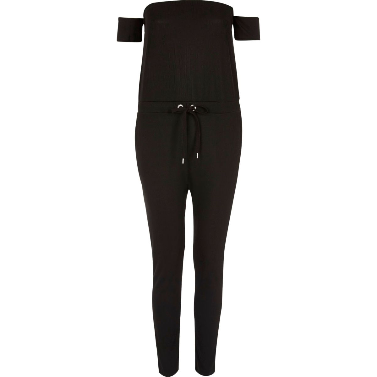 Black ribbed bardot jumpsuit