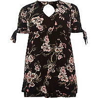 Black floral print tie sleeve playsuit