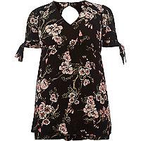 Black floral print tie sleeve romper
