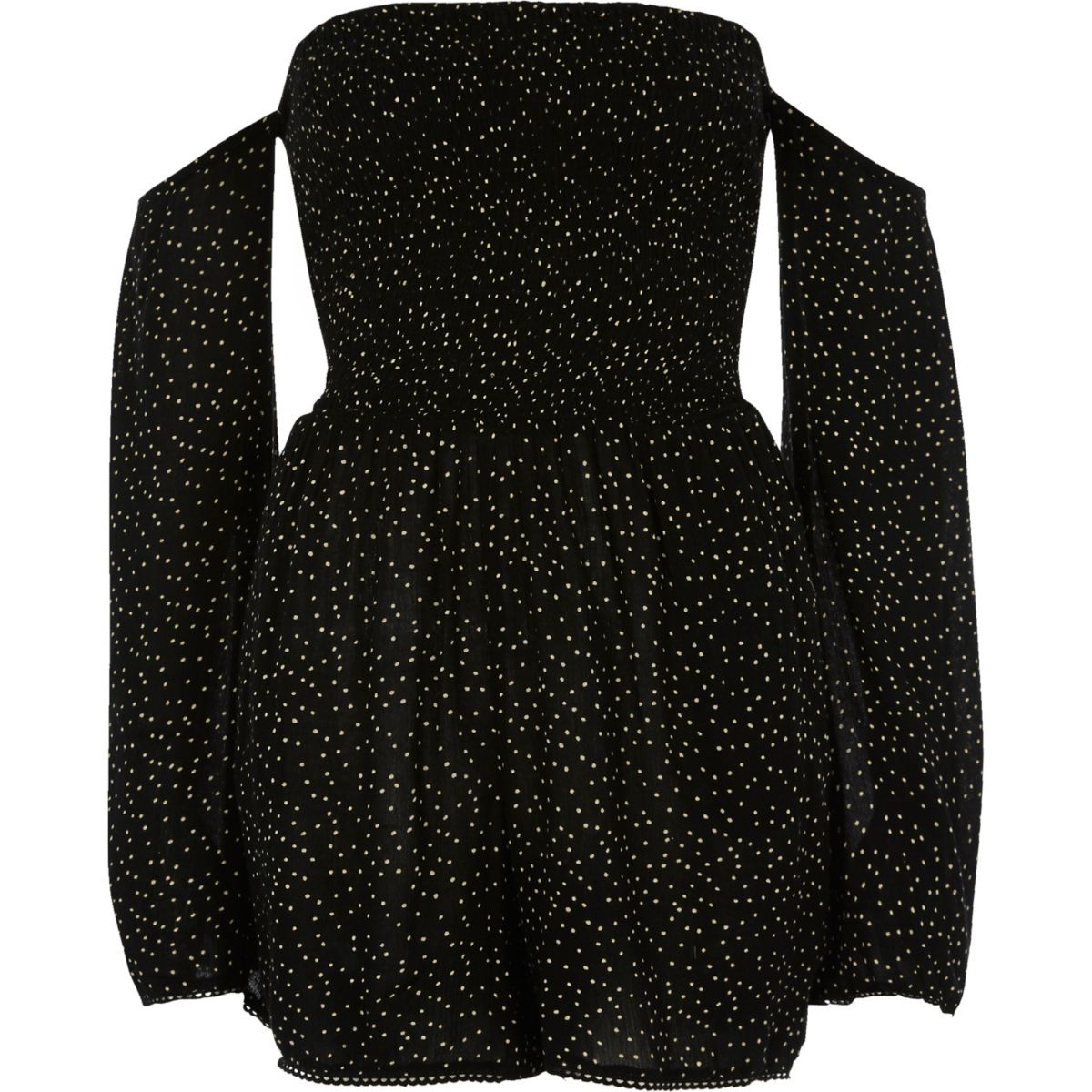 Black polka dot print bardot playsuit