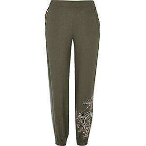 Khaki green embroidered pants