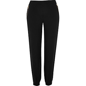 Black zip detail casual trousers