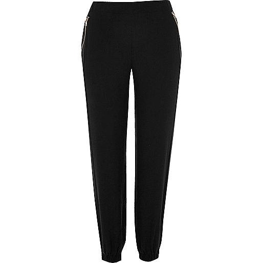 Pantalon noir casual à poches zippées