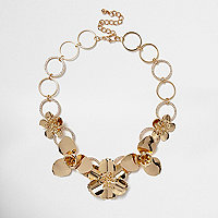 Gold tone large flower bib necklace