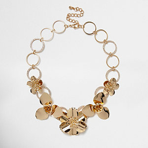 Gold tone large flower bib necklace