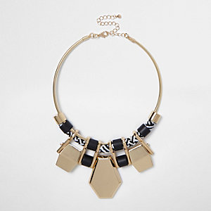 Gold tone rope statement necklace