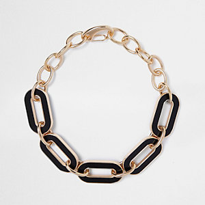 Gold tone large chain necklace