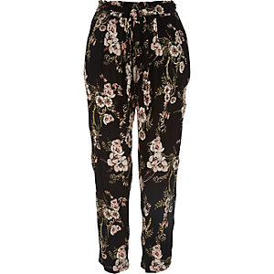 Black floral print loose fit trousers