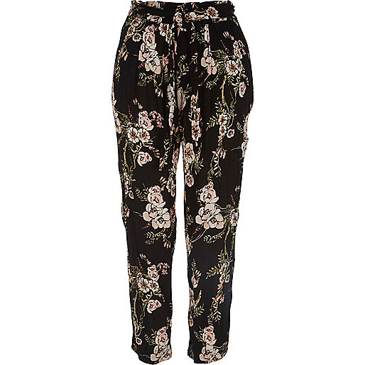 pantalon ample fleurs noir pantalons vas s pantalons femme. Black Bedroom Furniture Sets. Home Design Ideas