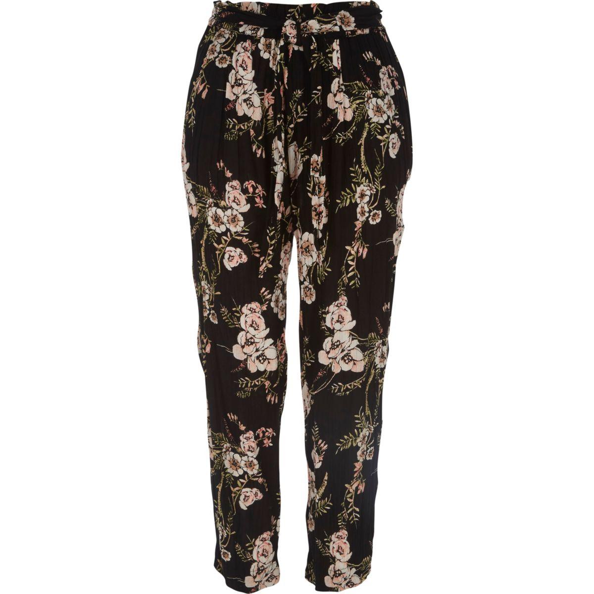 Black floral print loose fit trousers