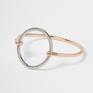 Silver tone circle cuff bracelet