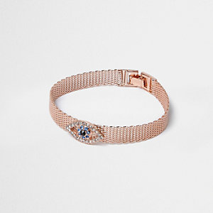 Rose gold tone evil eye bracelet