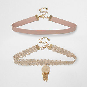 Pink lace filigree choker pack