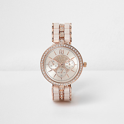 Rose gold tone diamanté watch