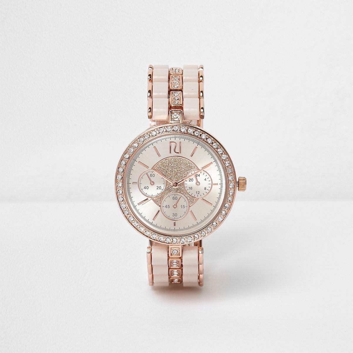 Rose gold tone diamante watch