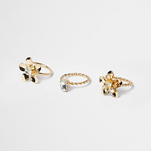 Gold tone flower rings pack