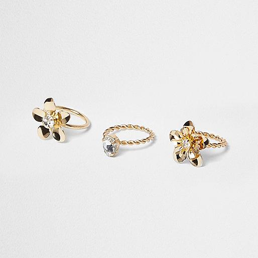 Gold tone flower rings pack