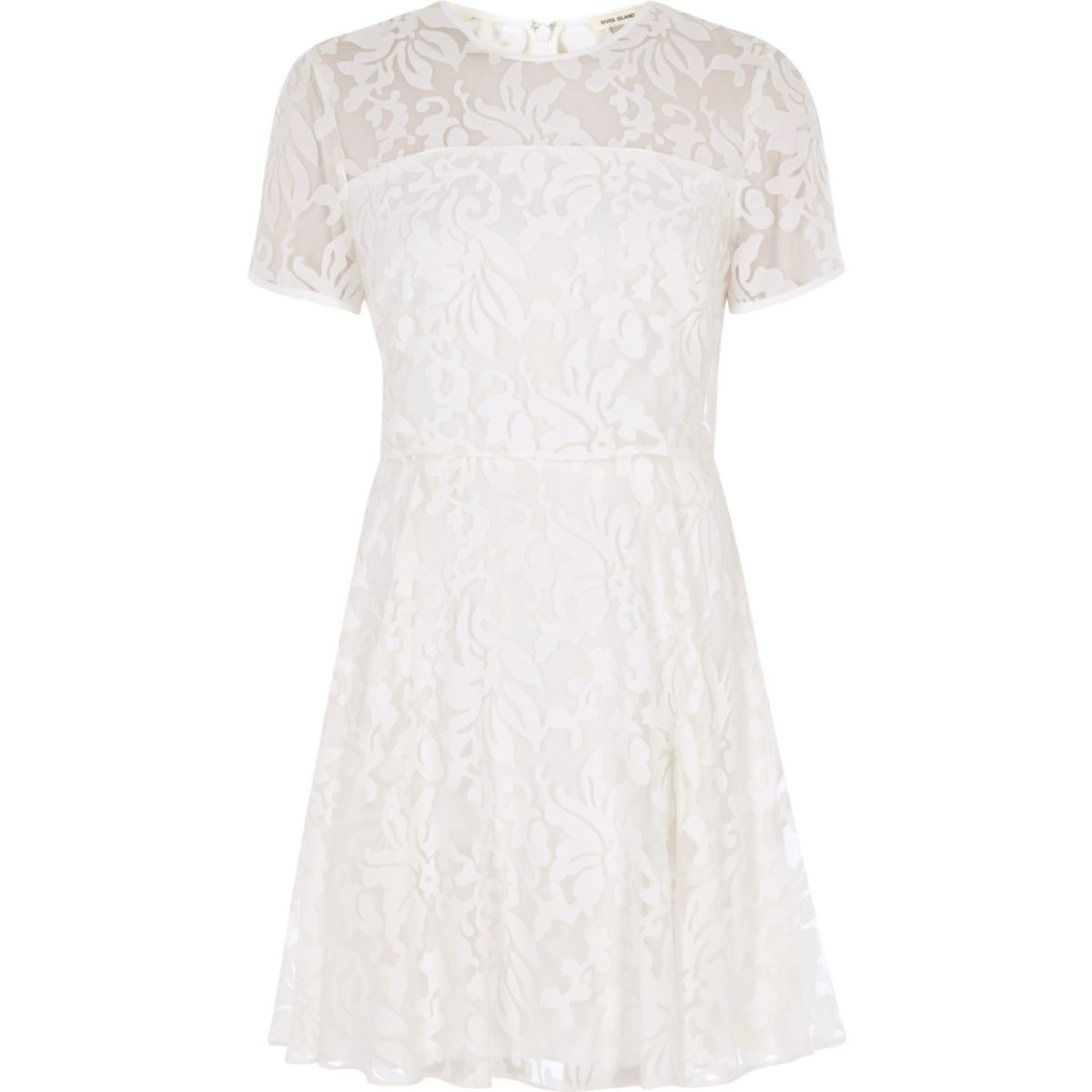 White sheer floral double layer dress